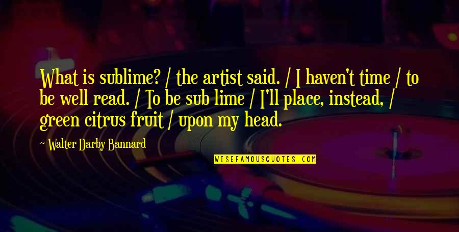 Lime Fruit Quotes By Walter Darby Bannard: What is sublime? / the artist said. /