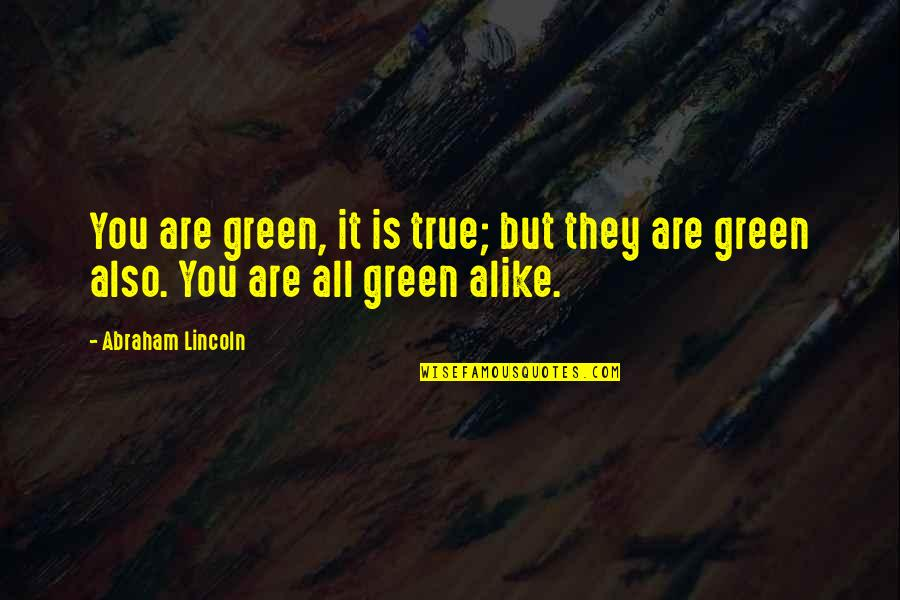 Lincoln And The Civil War Quotes By Abraham Lincoln: You are green, it is true; but they