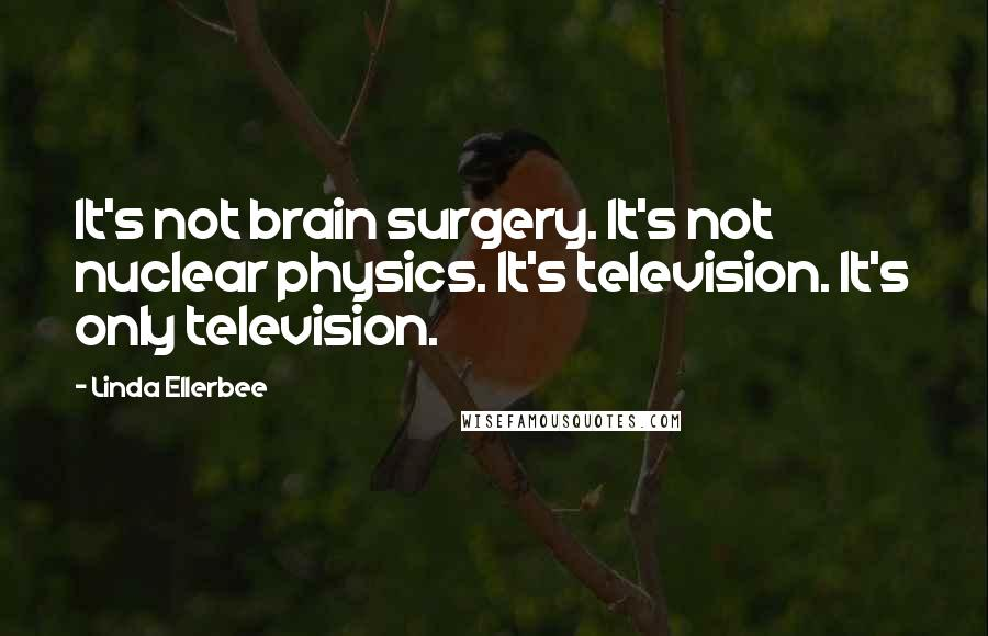 Linda Ellerbee quotes: It's not brain surgery. It's not nuclear physics. It's television. It's only television.