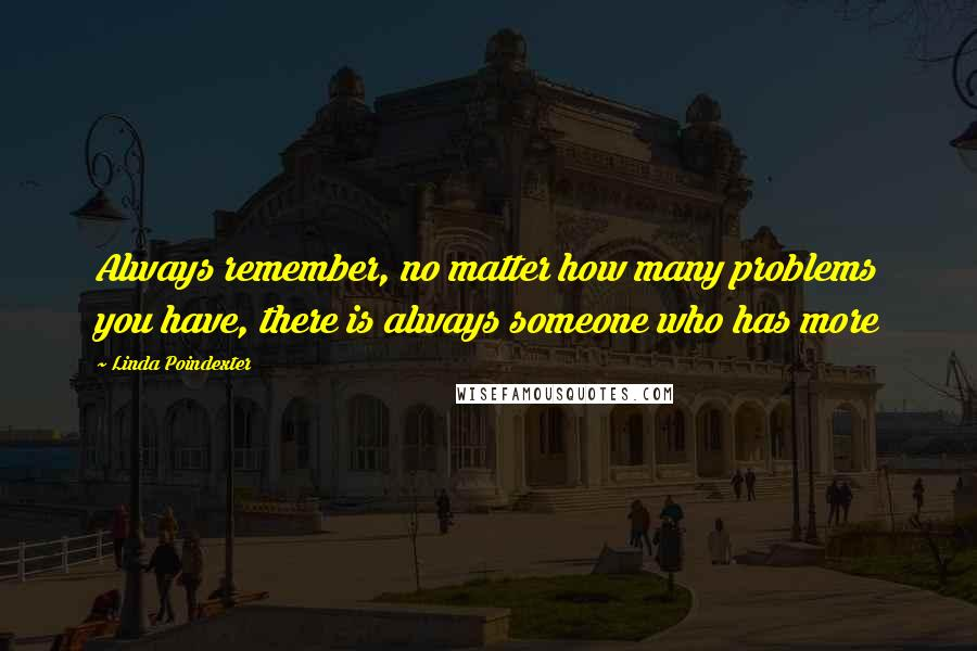 Linda Poindexter quotes: Always remember, no matter how many problems you have, there is always someone who has more