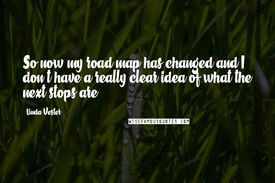 Linda Vester quotes: So now my road map has changed and I don't have a really clear idea of what the next stops are.