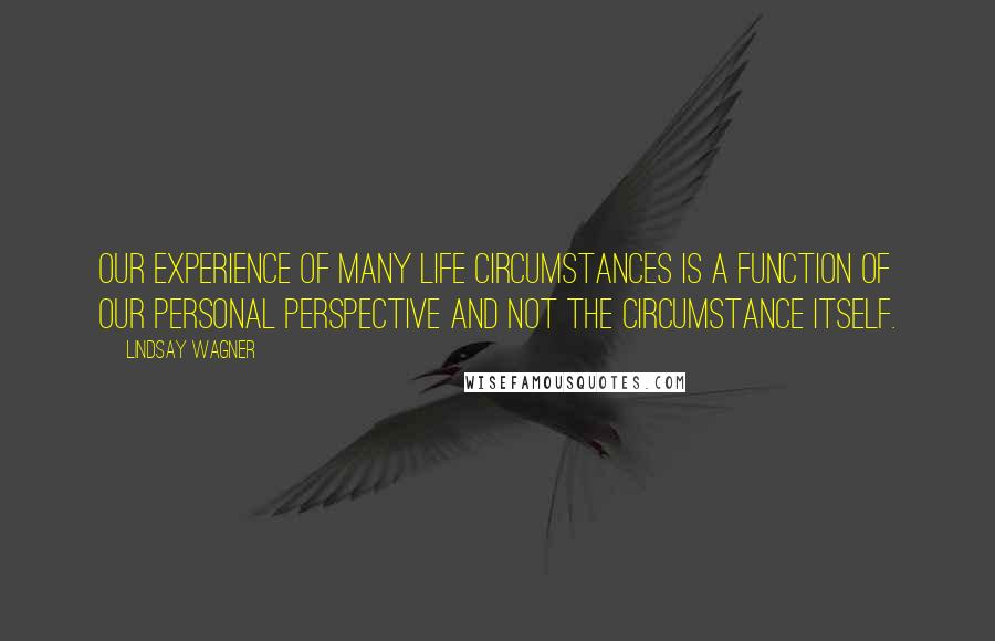 Lindsay Wagner quotes: Our experience of many life circumstances is a function of our personal perspective and not the circumstance itself.