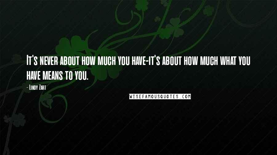 Lindy Zart quotes: It's never about how much you have-it's about how much what you have means to you.