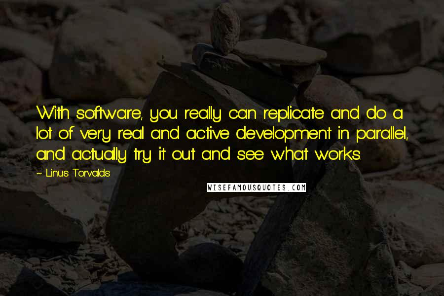 Linus Torvalds quotes: With software, you really can replicate and do a lot of very real and active development in parallel, and actually try it out and see what works.