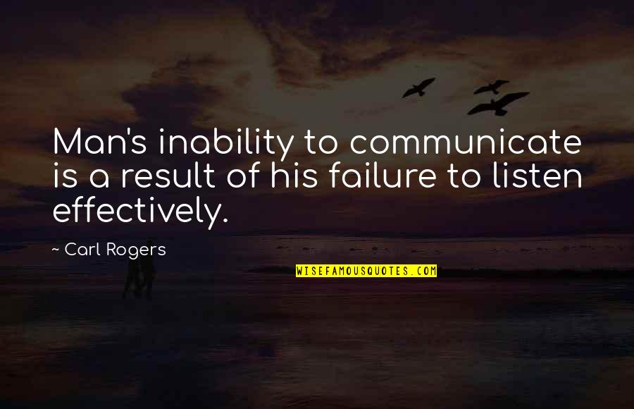 Listen Quotes By Carl Rogers: Man's inability to communicate is a result of