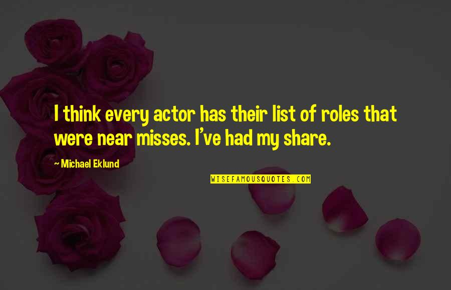 List'ning Quotes By Michael Eklund: I think every actor has their list of