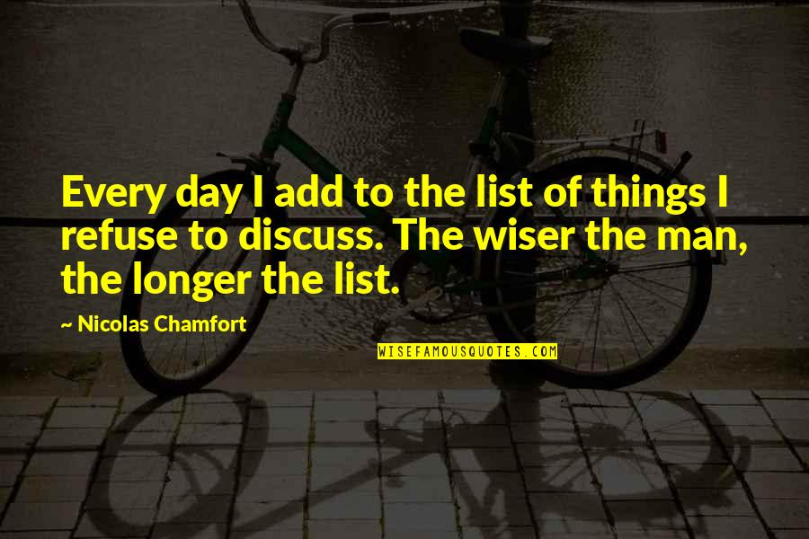 List'ning Quotes By Nicolas Chamfort: Every day I add to the list of