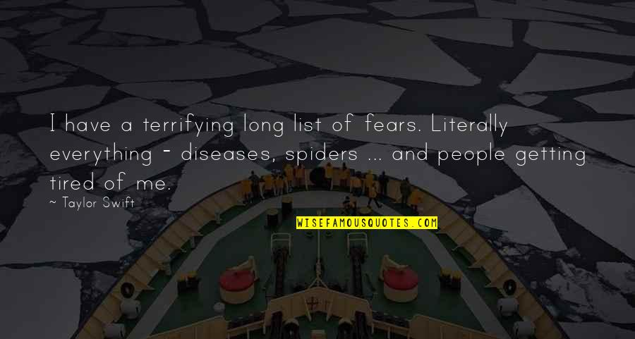 List'ning Quotes By Taylor Swift: I have a terrifying long list of fears.