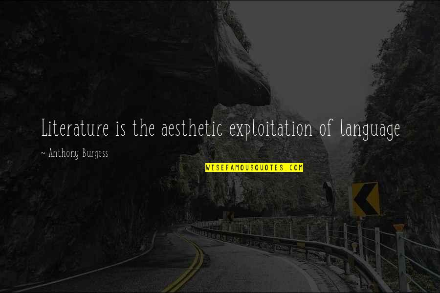Literature And Language Quotes By Anthony Burgess: Literature is the aesthetic exploitation of language