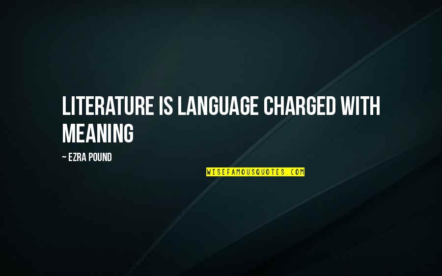 Literature And Language Quotes By Ezra Pound: Literature is language charged with meaning