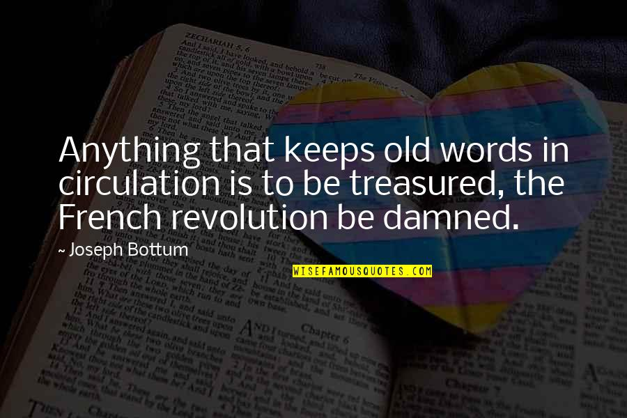 Literature And Language Quotes By Joseph Bottum: Anything that keeps old words in circulation is