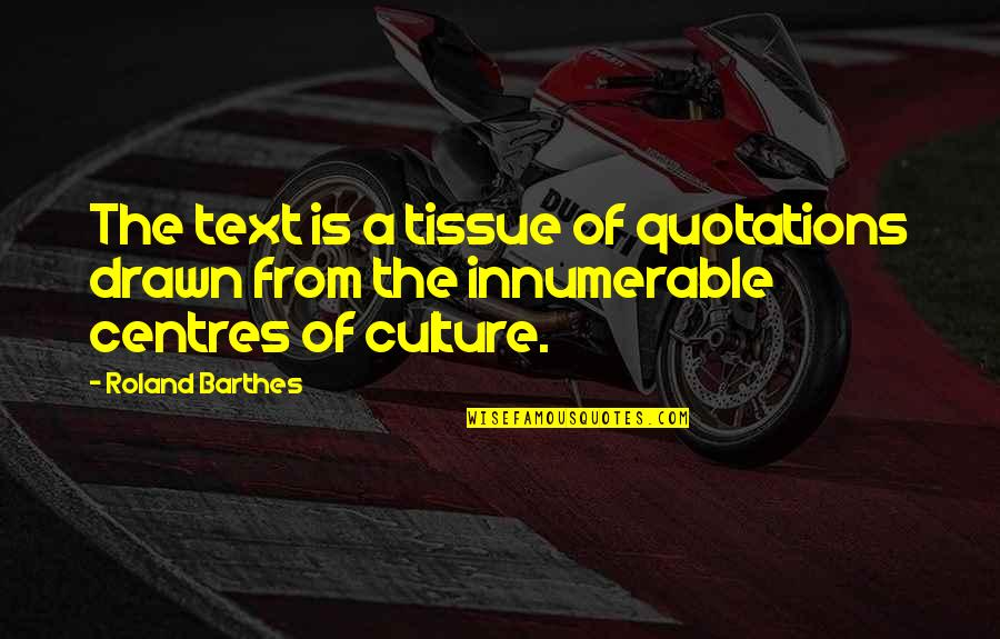 Literature And Language Quotes By Roland Barthes: The text is a tissue of quotations drawn