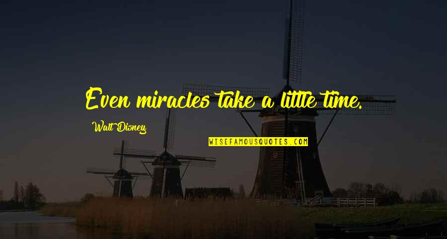 Little Princess Quotes By Walt Disney: Even miracles take a little time.