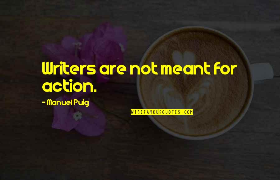 Little Rock 1957 Quotes By Manuel Puig: Writers are not meant for action.