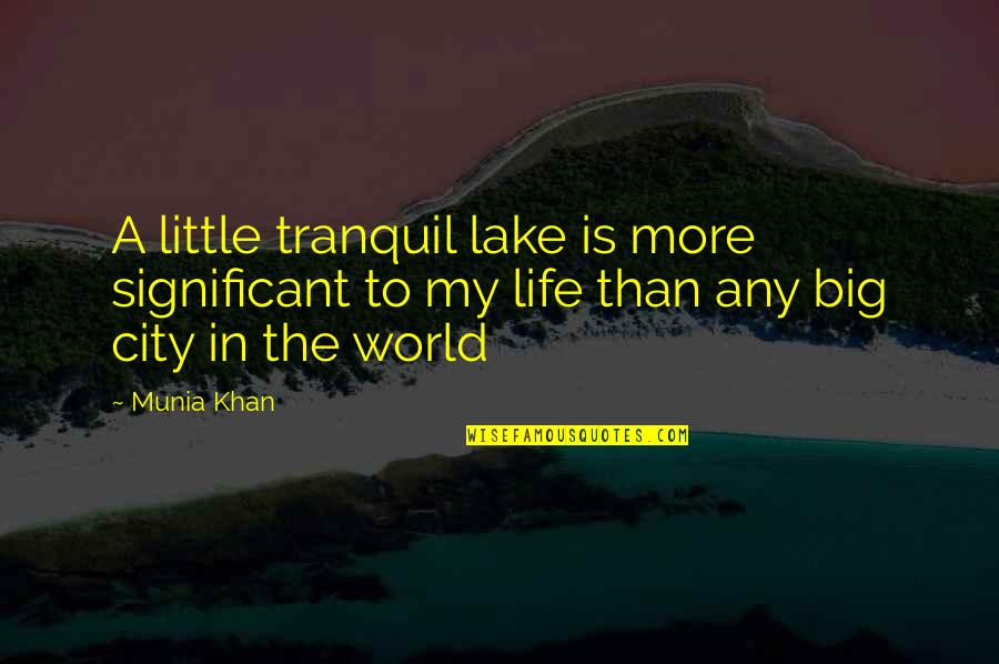 Little Vs Big Quotes By Munia Khan: A little tranquil lake is more significant to