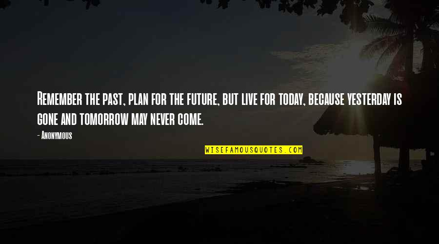 Live For Today Quotes By Anonymous: Remember the past, plan for the future, but
