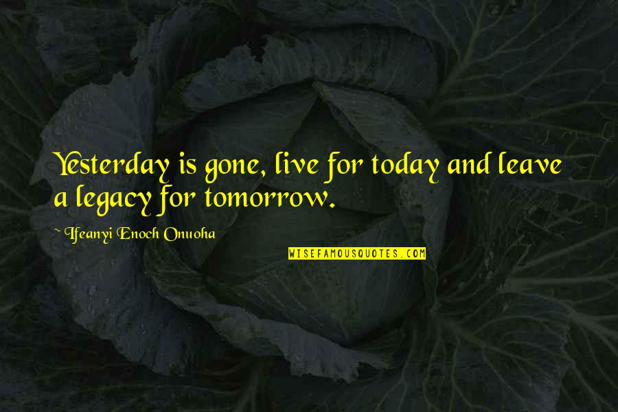 Live For Today Quotes By Ifeanyi Enoch Onuoha: Yesterday is gone, live for today and leave