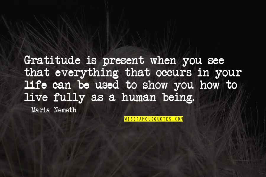 Live Fully Quotes By Maria Nemeth: Gratitude is present when you see that everything
