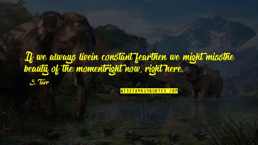 Live In Fear Quotes By S. Tarr: If we always livein constant fearthen we might