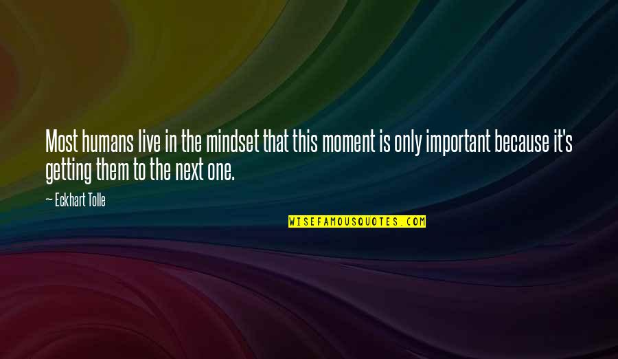 Live In This Moment Quotes By Eckhart Tolle: Most humans live in the mindset that this