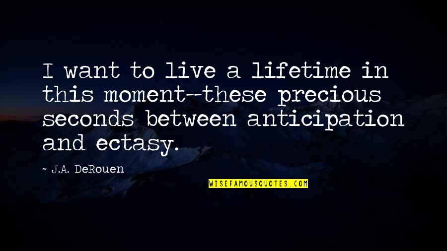Live In This Moment Quotes By J.A. DeRouen: I want to live a lifetime in this
