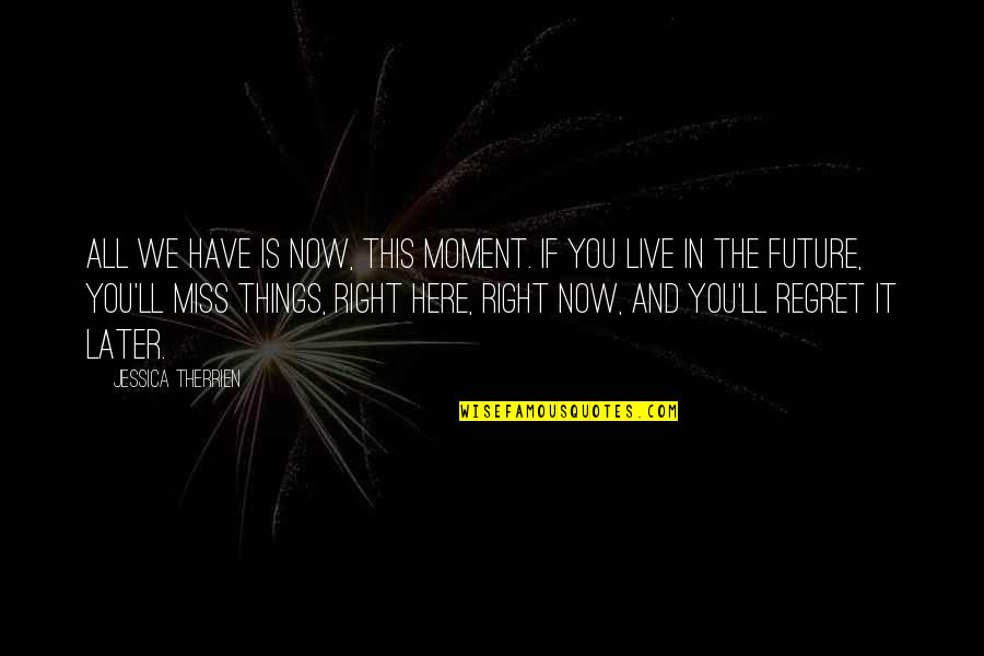 Live In This Moment Quotes By Jessica Therrien: All we have is now, this moment. If