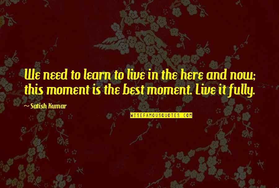 Live In This Moment Quotes By Satish Kumar: We need to learn to live in the