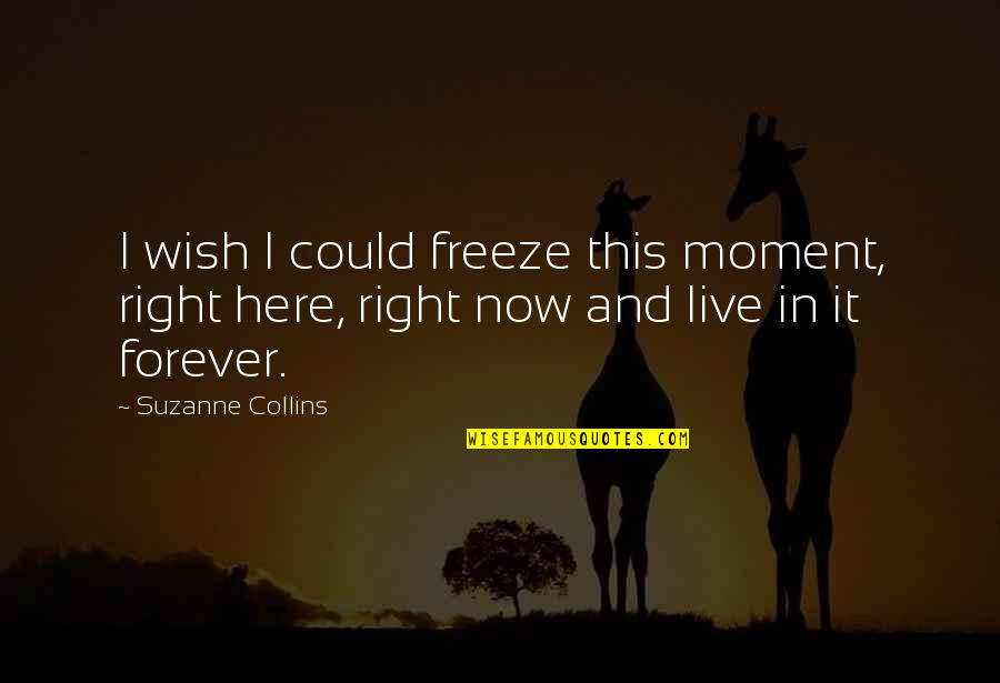 Live In This Moment Quotes By Suzanne Collins: I wish I could freeze this moment, right