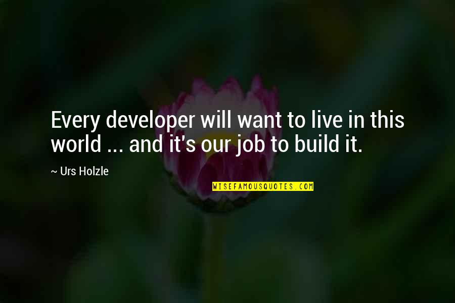Live It Quotes By Urs Holzle: Every developer will want to live in this