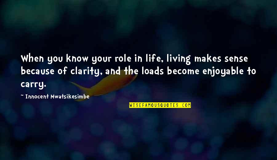 Live Life Happiness Quotes By Innocent Mwatsikesimbe: When you know your role in life, living