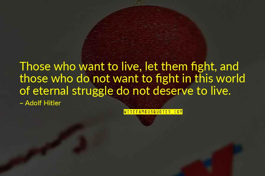 Live To Fight Quotes By Adolf Hitler: Those who want to live, let them fight,