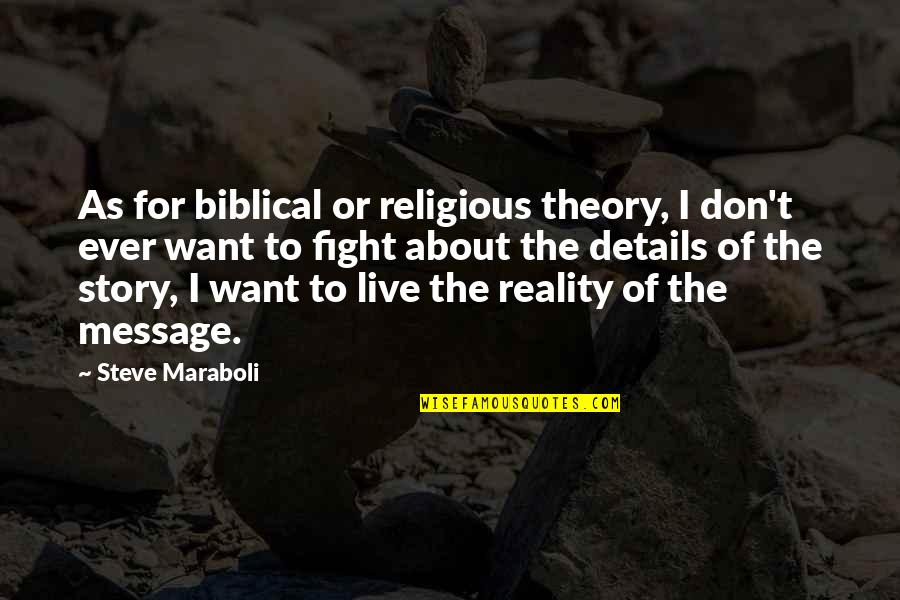 Live To Fight Quotes By Steve Maraboli: As for biblical or religious theory, I don't