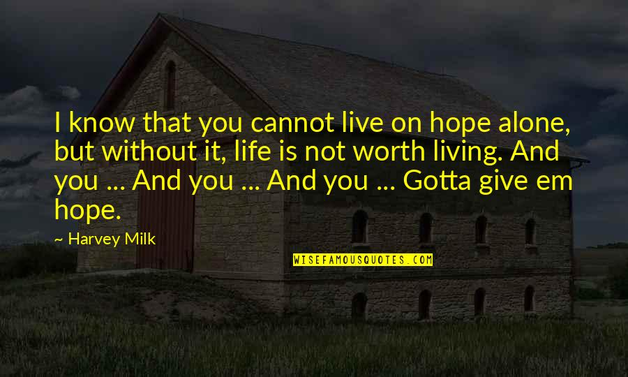 Living Alone Quotes By Harvey Milk: I know that you cannot live on hope