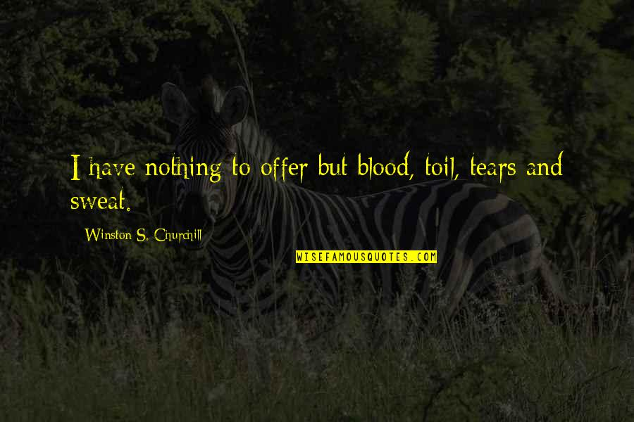 Living Com Karma Quotes By Winston S. Churchill: I have nothing to offer but blood, toil,