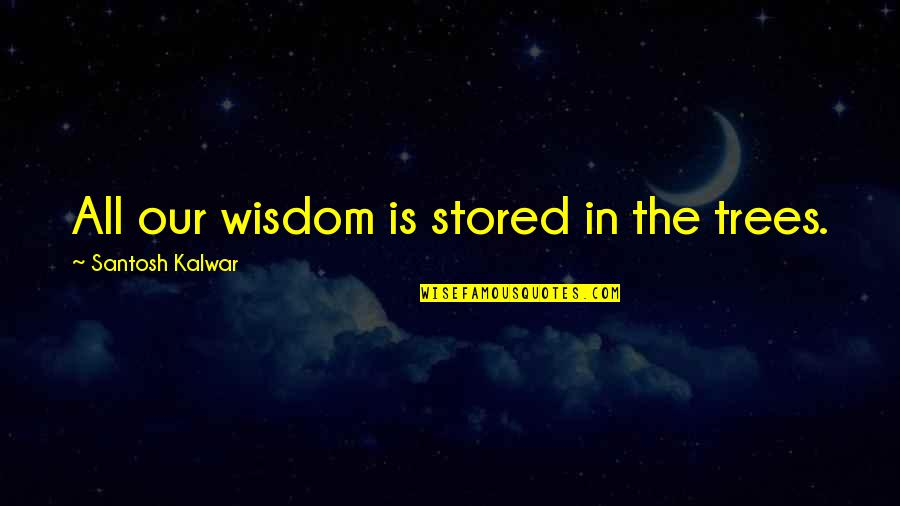 Living Green Quotes By Santosh Kalwar: All our wisdom is stored in the trees.