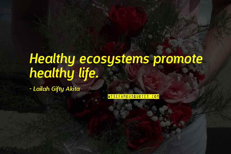 Living Healthy Quotes By Lailah Gifty Akita: Healthy ecosystems promote healthy life.