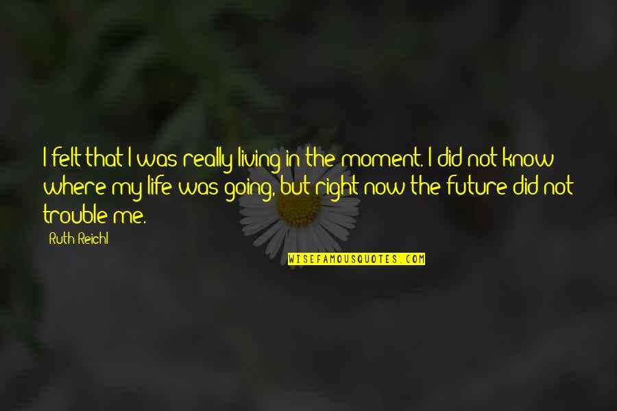 Living In The Moment Quotes By Ruth Reichl: I felt that I was really living in