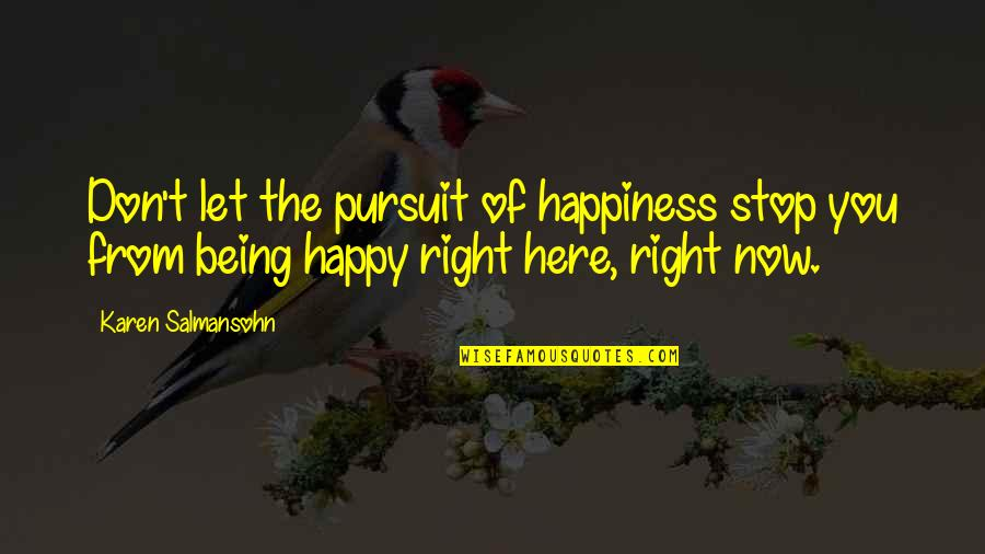 Living Life Now Quotes By Karen Salmansohn: Don't let the pursuit of happiness stop you