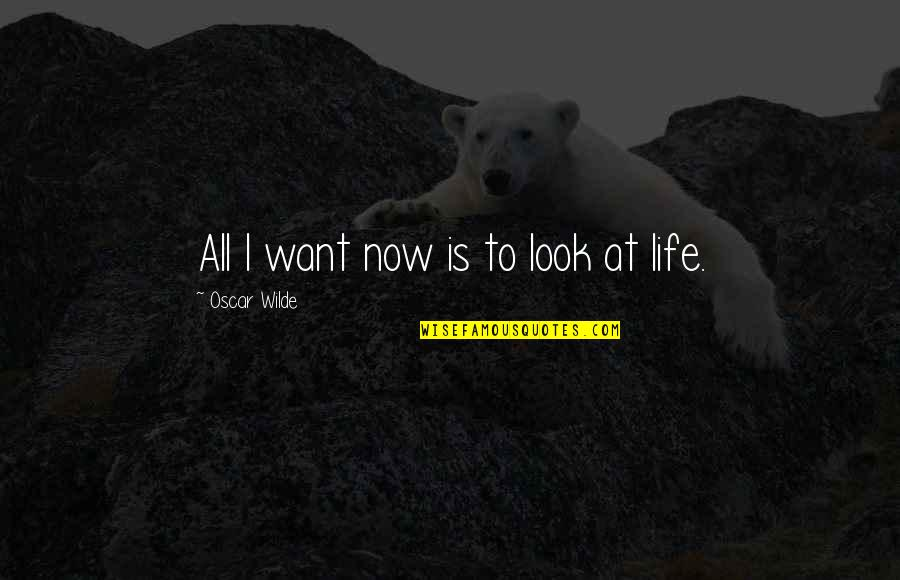 Living Life Now Quotes By Oscar Wilde: All I want now is to look at