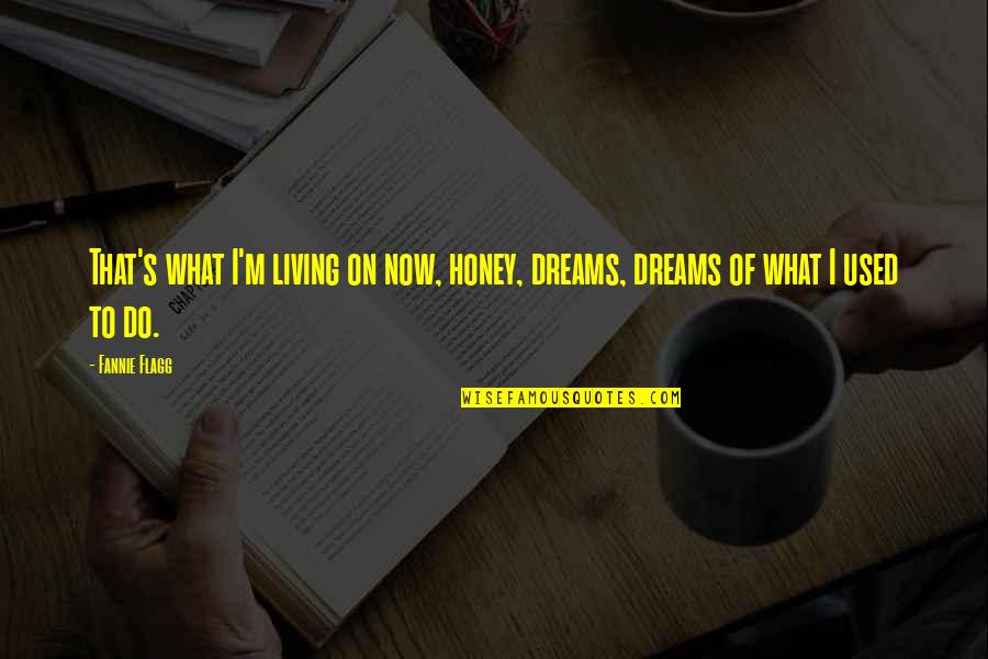 Living Now Quotes By Fannie Flagg: That's what I'm living on now, honey, dreams,