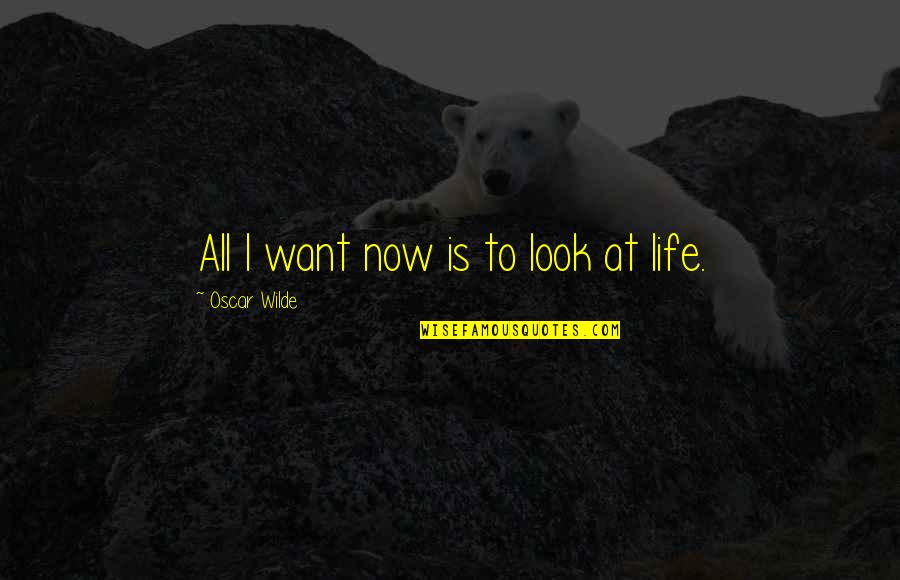 Living Now Quotes By Oscar Wilde: All I want now is to look at