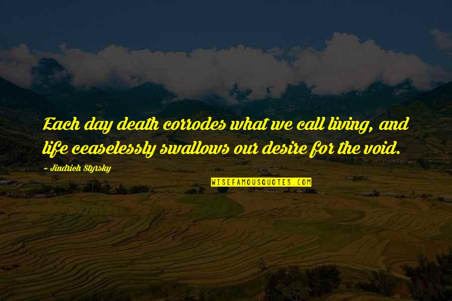 Living Our Life Quotes By Jindrich Styrsky: Each day death corrodes what we call living,