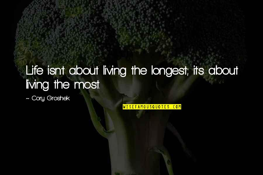 Living Sayings And Quotes By Cory Groshek: Life isn't about living the longest; it's about