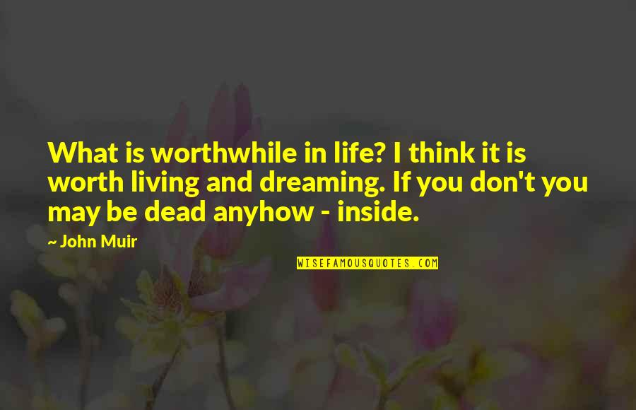 Living Your Dream Life Quotes By John Muir: What is worthwhile in life? I think it