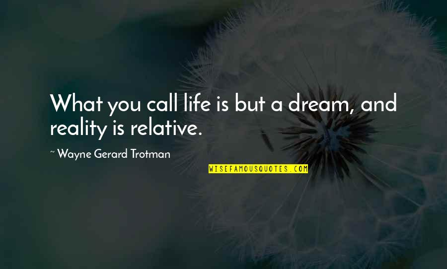 Living Your Dream Life Quotes By Wayne Gerard Trotman: What you call life is but a dream,
