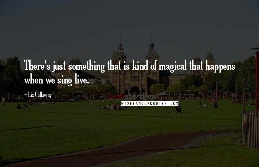 Liz Callaway quotes: There's just something that is kind of magical that happens when we sing live.