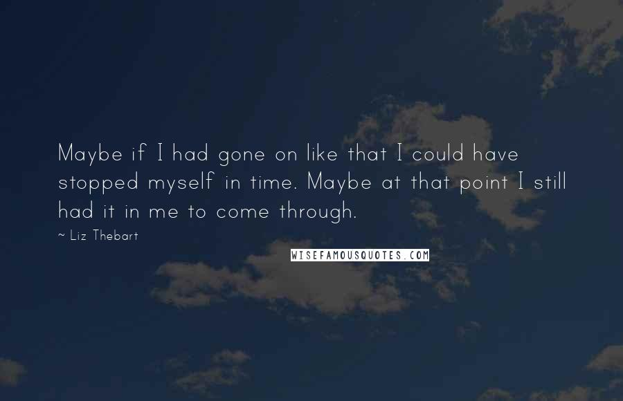 Liz Thebart quotes: Maybe if I had gone on like that I could have stopped myself in time. Maybe at that point I still had it in me to come through.