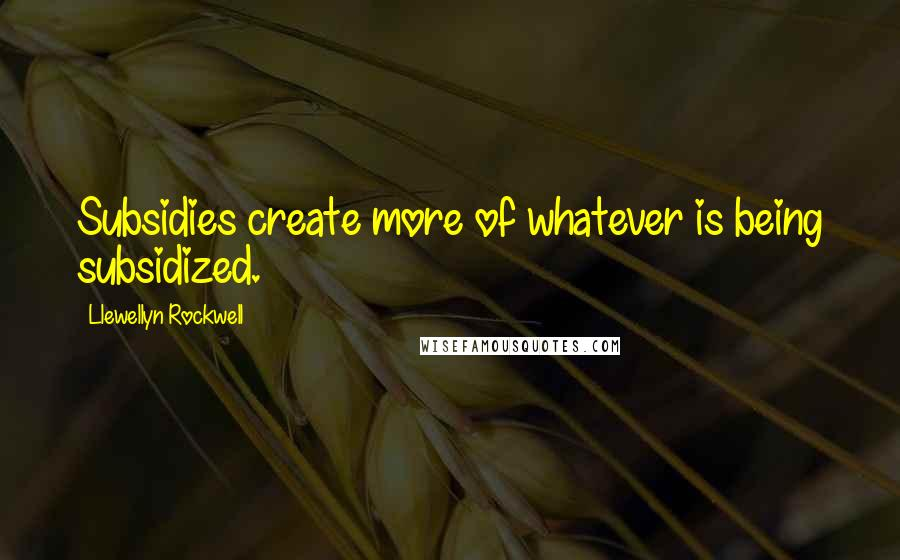 Llewellyn Rockwell quotes: Subsidies create more of whatever is being subsidized.