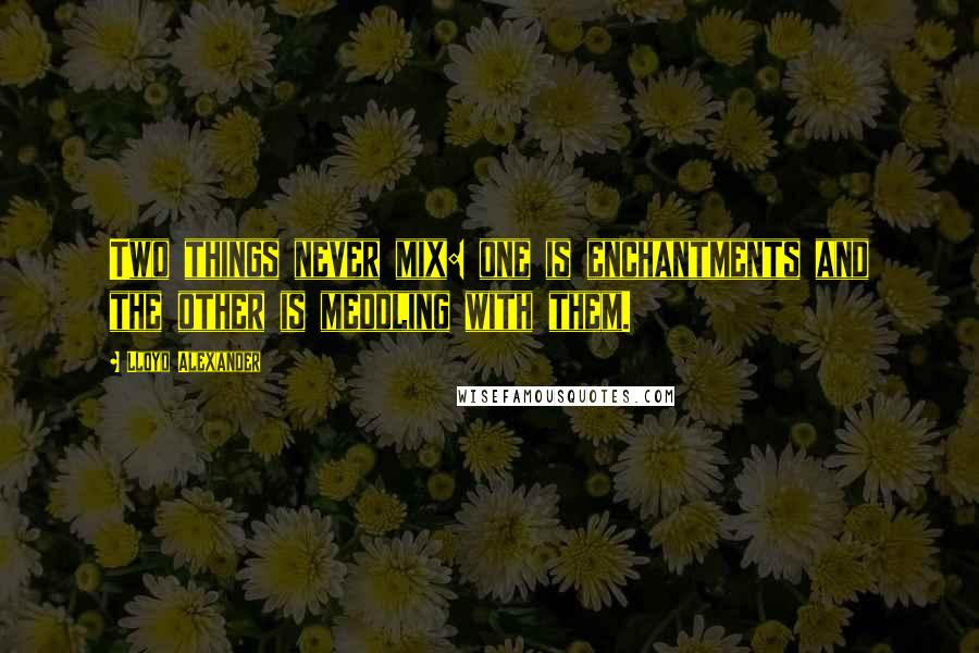 Lloyd Alexander quotes: Two things never mix: one is enchantments and the other is meddling with them.