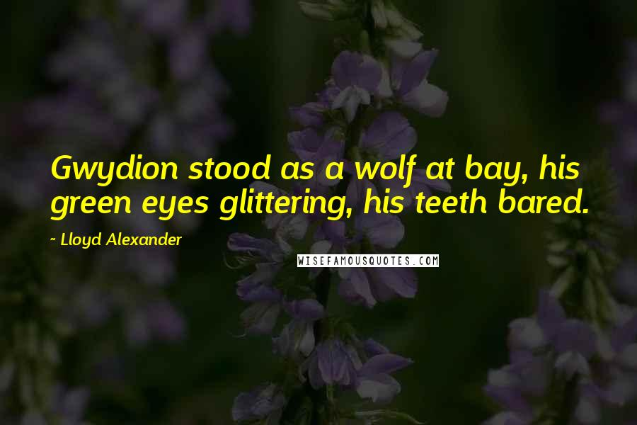 Lloyd Alexander quotes: Gwydion stood as a wolf at bay, his green eyes glittering, his teeth bared.